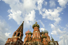 Tempel des Basilikums gesegnet, Moskau, Russland, Roter Platz Lizenzfreie Stockfotografie