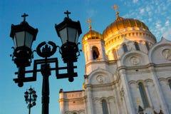 Tempel des Christ des Retters in den Lichtstrahlen einer Abnahme Lizenzfreie Stockfotos
