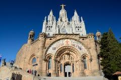 Tempel des heiligen Herzens von Jesus auf Tibidabo in Barcelona, Spanien Stockfotos