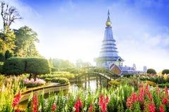 Tempel an doi inthanon Berg, Chiang Mai, Thailand Stockfotografie
