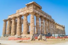 Tempel E på Selinunte i Sicilien är en grekisk tempel Royaltyfri Foto