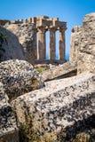 Tempel E på Selinunte i Sicilien Arkivfoto