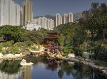 Tempel in einem Park in Hong Kong Stockbild