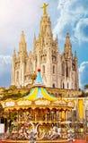 Tempel Expiatori del Sagrat Cor på toppmöte av monteringen Tibidabo, Barcelona arkivfoto