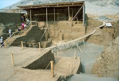 tempel för de huaca laluna moon Royaltyfria Foton