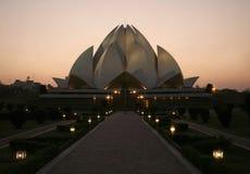 tempel för delhi lotusblommasolnedgång Arkivbild