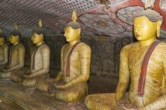tempel för statyer för sri för rock för buddha dambullalanka arkivbild