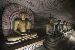 tempel för statyer för sri för rock för buddha dambullalanka arkivfoto