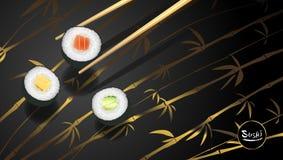Tempel för sushiaffisch- eller reklambladdesign, illustration för vektorgemkonst Royaltyfri Fotografi