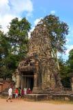 Tempel för Ta Prohm, forntida arkitektur i Cambodja Arkivbild