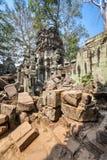 Tempel för Ta Prohm på Angkor Wat, Siem Reap, Cambodja. Arkivbilder
