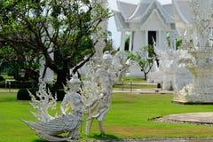 Tempel för Wat rongkhun i ChiangRai, Thailand Arkivbilder