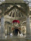 tempel för adinathindia jain ranakpur Arkivfoton