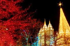 Tempel fyrkantiga Salt Lake City Utah med julljus Arkivbilder