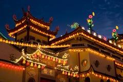 Tempel geleuchtet für chinesisches neues Jahr Stockbilder
