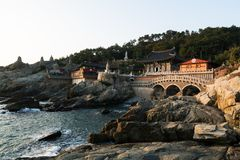Tempel Haedong Yonggungsa am Morgen in Busan, Südkorea lizenzfreie stockfotografie