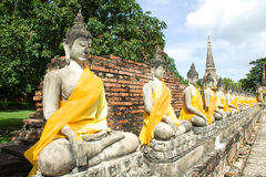 Tempel i ayutthaya Thailand royaltyfria foton