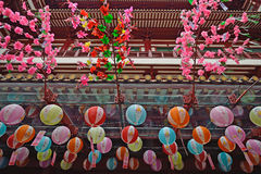 Tempel i den Kina staden Singapore Arkivbilder