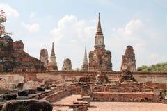 Tempel i gammal stad av Ayutthaya Arkivfoto