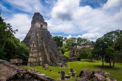 Tempel I Gran Jaguar på den Tikal nationalparken - Guatemala Royaltyfri Bild
