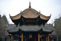Tempel i härlig gammal stad av Chengdu, Sichuan, Kina arkivbild