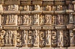 Tempel i Khajuraho, Indien Arkivbild