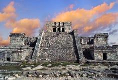 Tempel i Tulum, Mexico Arkivbilder