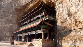 Tempel inom en grotta i MienShan Royaltyfria Foton
