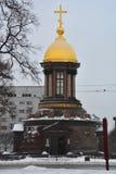 Tempel-kapell av Treenighet Zhivonachalnaya i St Petersburg, Ryssland Arkivfoto