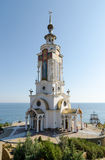 Tempel-Leuchtturm Sankt Nikolaus von Myra im Dorf Malorechen Lizenzfreie Stockfotografie