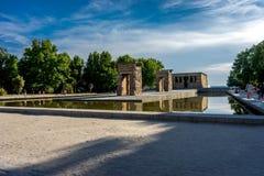 Tempel Madrids Templo de Debod altes ägyptisches spotlit Panorama lizenzfreies stockbild