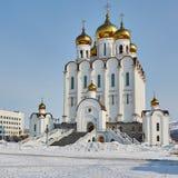 Tempel in Magadan Winter Lizenzfreie Stockfotos