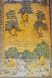 Tempel med antik målning om lag av karma efter året 1928 Royaltyfria Bilder