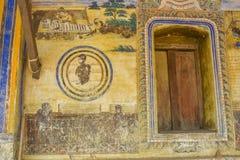 Tempel med antik målning om lag av karma efter året 1928 Arkivbild
