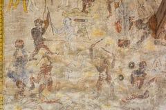 Tempel med antik målning om lag av karma efter året 1928 Arkivfoton