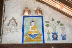 Tempel mit antiker Malerei über Gesetz des Karmas seit Jahr 1928 Stockfotografie