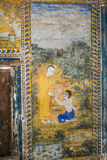Tempel mit antiker Malerei über Gesetz des Karmas seit Jahr 1928 Stockfoto