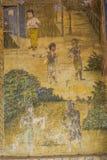 Tempel mit antiker Malerei über Gesetz des Karmas seit Jahr 1928 Stockbild