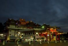 Tempel-Nachtszene Thean Hou stockfotos