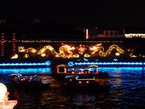 Tempel Nanjings Konfuzius und Dracheboot Stockfotografie