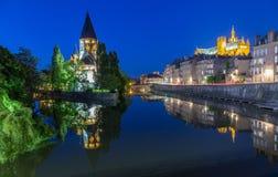 Tempel Neuf DE Metz op de Moezel Frankrijk bij nacht royalty-vrije stock afbeelding
