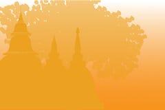 Tempel och pagoder i härligt landskap Stock Illustrationer