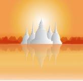 Tempel och pagoder i härligt landskap Royaltyfri Illustrationer