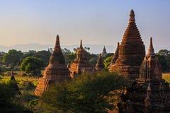 Tempel och stupas, Bagan, Myanmar. Arkivbild