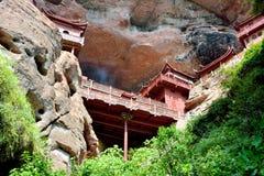Tempel op klip, in Fujian, China wordt voortgebouwd dat Royalty-vrije Stock Fotografie