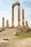 Tempel på den Amman citadellen, Jordanien Fotografering för Bildbyråer