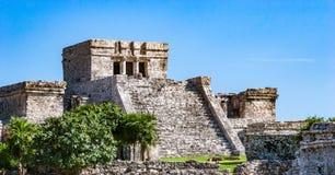 Tempel på Tulum, Mexico Arkivbild