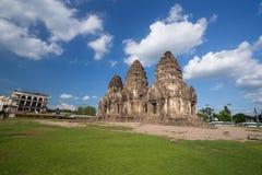 Tempel Phra Prang Sam Yot, Architektur in Lopburi, Thailand Stockfoto
