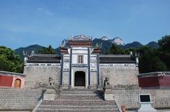 Tempel in Sandouping bij Yangtze-rivier stock fotografie