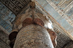 Tempel-Spaltenkapital Dendera Hathor Lizenzfreies Stockbild